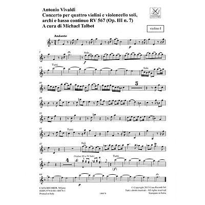 Ricordi Concerto F Major, RV 567, Op. III, No. 7/Variant of Op. 3, No. 7 String Orchestra by Antonio Vivaldi