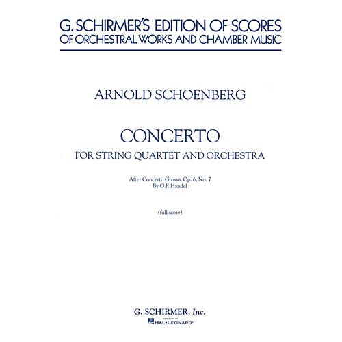 G. Schirmer Concerto (Full Score) Study Score Series Composed by Arnold Schoenberg