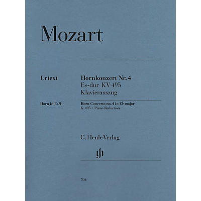 G. Henle Verlag Concerto for Horn and Orchestra No. 4 in E Flat Major,  K.495 Henle Music Folios Series Softcover
