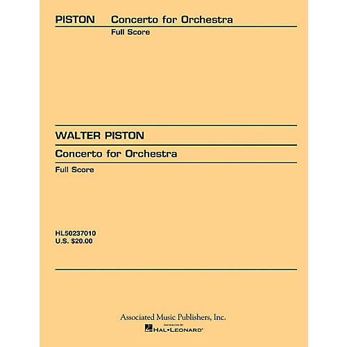 Associated Concerto for Orchestra (1933) (Full Score) Study Score Series Composed by Walter Piston
