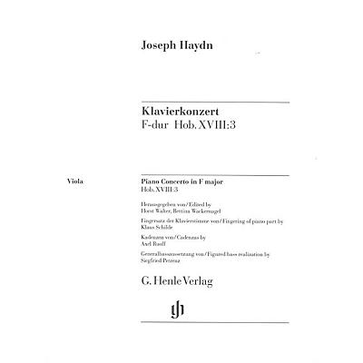 G. Henle Verlag Concerto for Piano (Harpsichord) and Orchestra F Major Hob.XVIII:3 Henle Music by Joseph Haydn