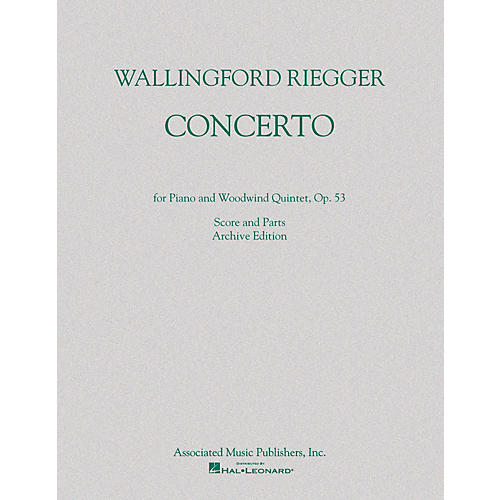 G. Schirmer Concerto for Piano and Woodwind Quintet, Op. 53 (Score and Parts) Ensemble Series by Wallingford Riegger