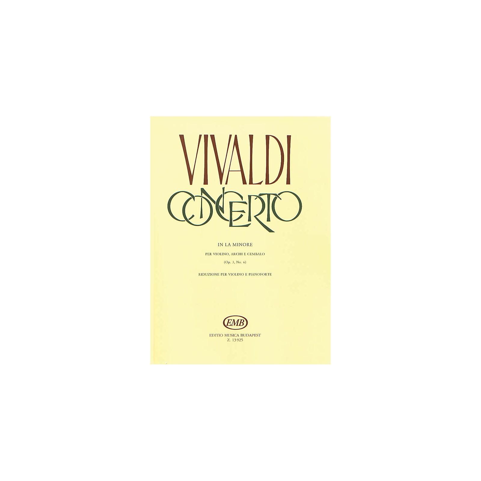 Editio Musica Budapest Concerto in A Minor for Violin, String and Cembalo RV 356 EMB Series by Antonio Vivaldi