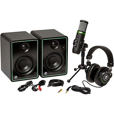 Mackie Content creation bundle with CR3-X monitors, EM-USB condenser mic, and MC-100 headphones