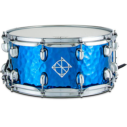 Dixon Cornerstone Titanium Plated Hammered Steel Snare Drum With Bag 14 x 6.5 in. Blue