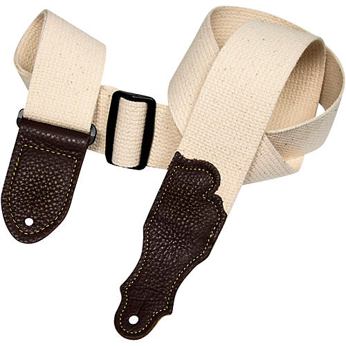 Franklin Strap Cotton Guitar Strap with Glove Leather End Tabs Natural with Chocolate Endtabs