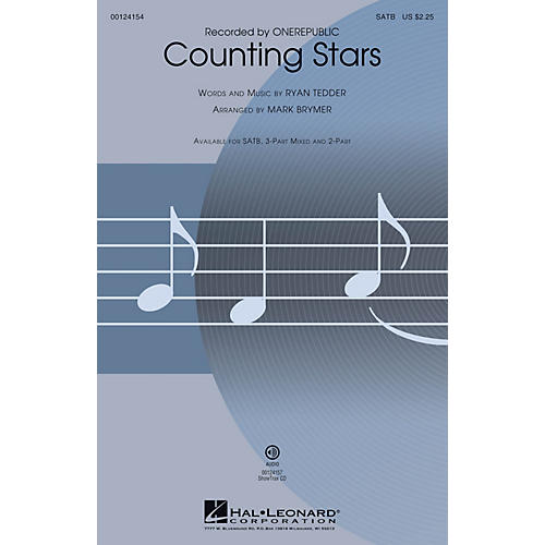 Hal Leonard Counting Stars SATB by OneRepublic arranged by Mark Brymer