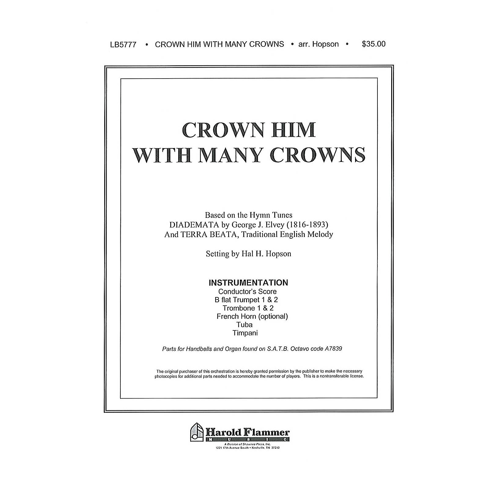 Shawnee Press Crown Him with Many Crowns INSTRUMENTAL ACCOMP PARTS Arranged by Hal Hopson