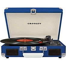 Cruiser Deluxe Portable Turntable Vinyl Record Player with Built-in Speaker Blue
