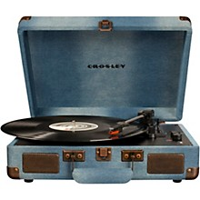 Cruiser Deluxe Portable Turntable Vinyl Record Player with Built-in Speaker Denim