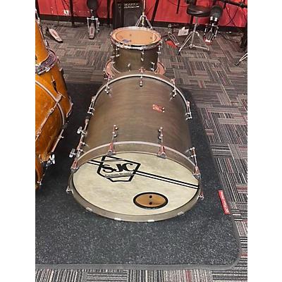 SJC Drums Custom 3 Piece Walnut Stain Drum Kit