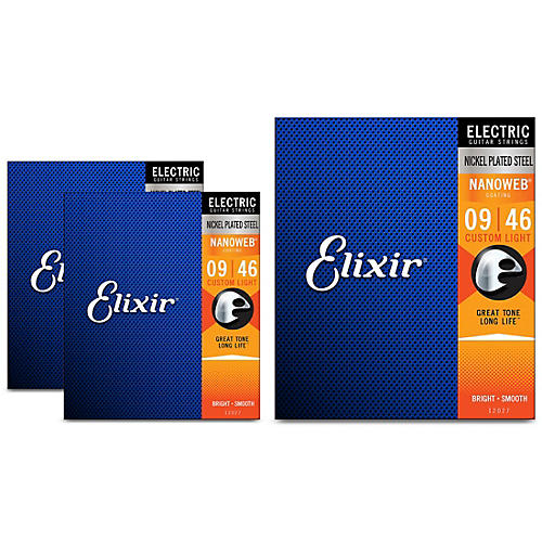 Elixir Custom Light Nanoweb Electric Guitar Strings 3 Pack