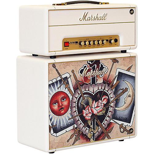 Marshall Custom Tattoo Emily Wood Stack JVM-1H 1W Tube Guitar Head and 1x10 Cab