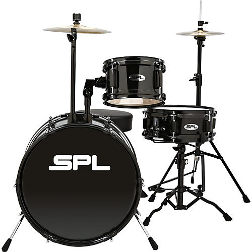 Sound Percussion Labs D1316 Lil Kicker 3-Piece Drum Kit With Throne Black