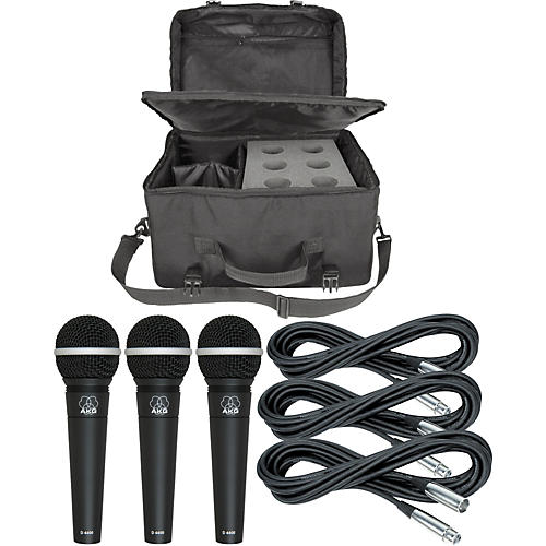 AKG D4400 Mic Three Pack With Cables & Mic Bag