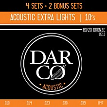 Darco D510 80/20 Extra Light 6 Set Value Pack Acoustic Guitar Strings