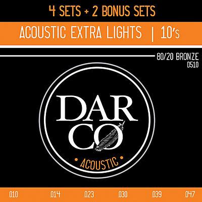 Darco D510 80/20 Extra Light 6 Set Value Pack Acoustic Guitar Strings