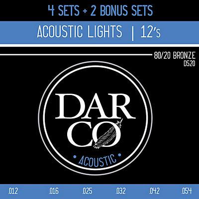 Darco D520 80/20 Light 6 Set Value Pack Acoustic Guitar Strings