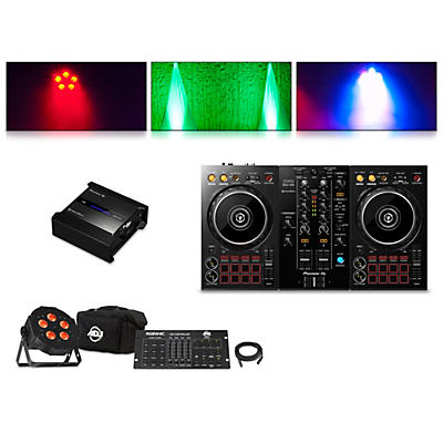Pioneer DDJ-400 Performance Controller with RB-DMX1 Lighting Controller and ADJ Ultra Quad Pak Pro