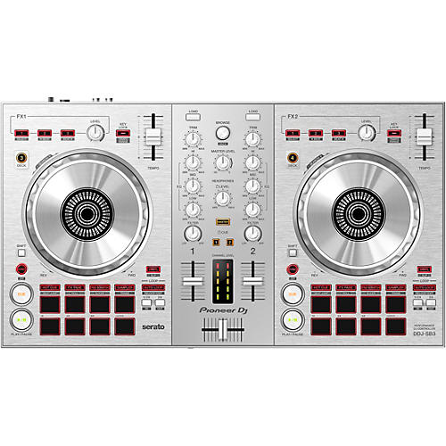 Pioneer DDJ-SB3-S Limited Edition Silver Serato DJ Controller with Pad Scratch Silver