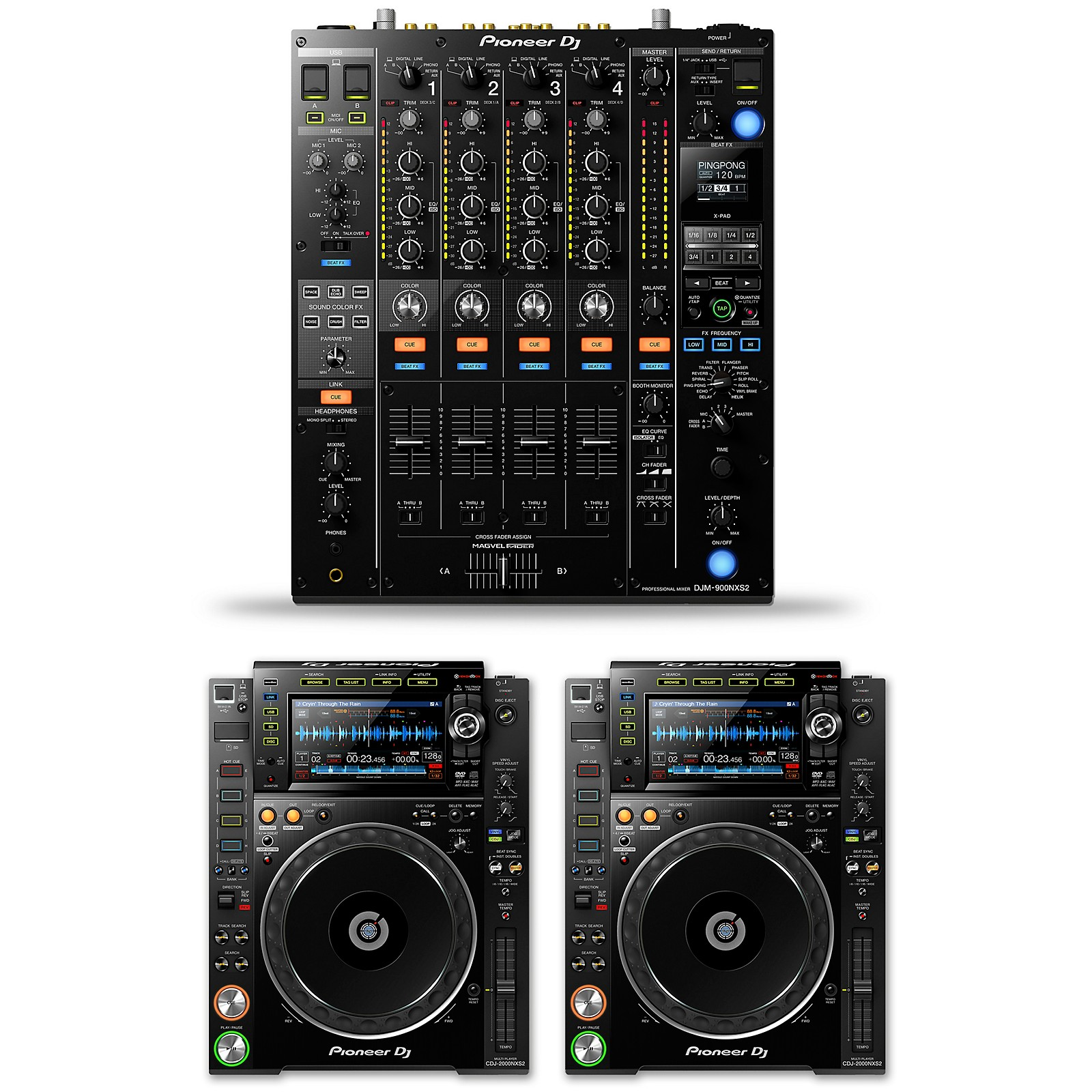 Pioneer DJ Package with DJM-900NXS2 Mixer and CDJ-2000NXS2 Media Players
