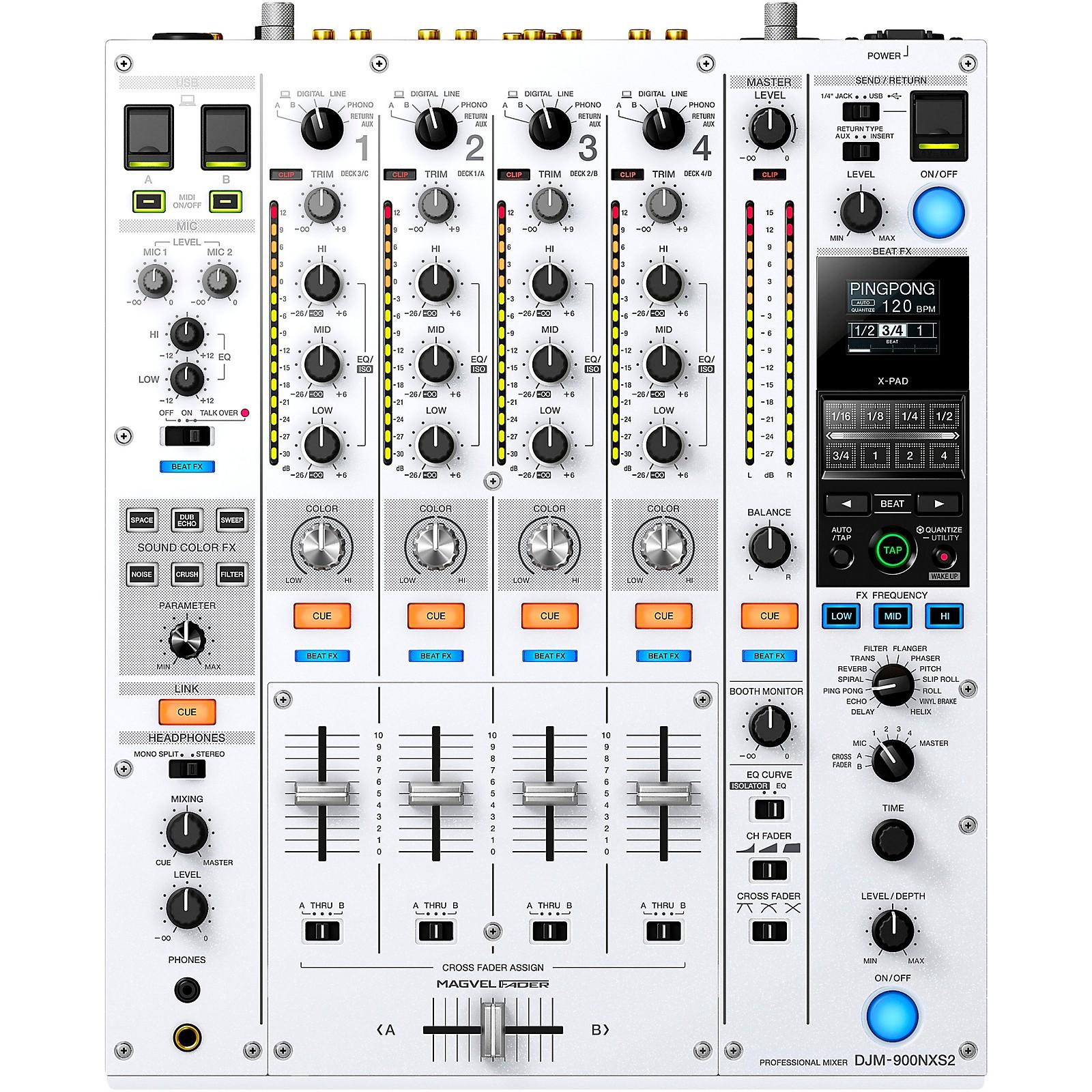 Pioneer DJM-900NXS2-W Limited Edition White Professional 4-Channel Digital DJ Mixer With Dual USB for Serato, TRAKTOR and rekordbox