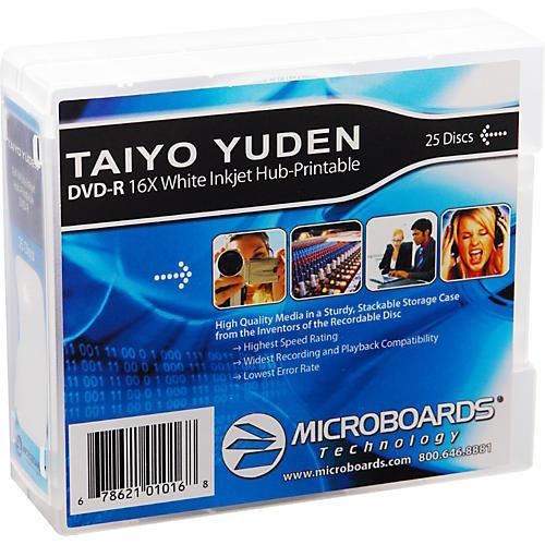 Taiyo Yuden DVD-R 16X White Inkjet-Printable and Hub-Printable 25-Disc Spindle