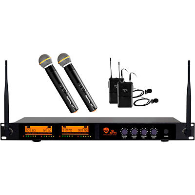 Nady DW-44 Quad Digital Wireless Combo System with Two Handheld & Two Lapel Microphones