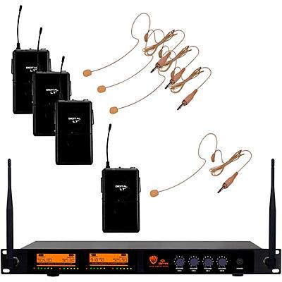 Nady DW-44 Quad Digital Wireless System with Headset Microphone