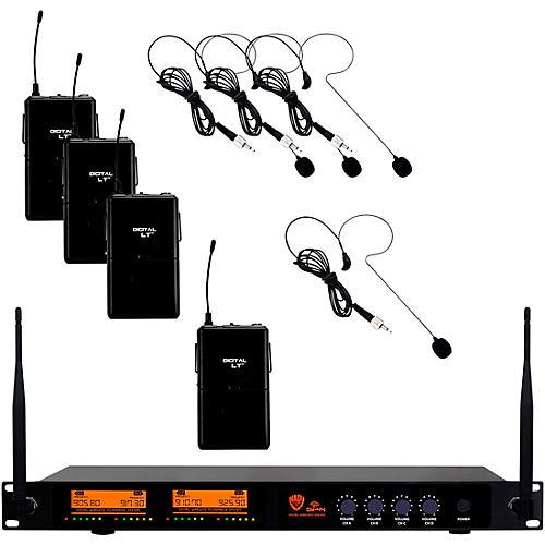 Nady DW-44 Quad Digital Wireless System with Headset Microphone Black
