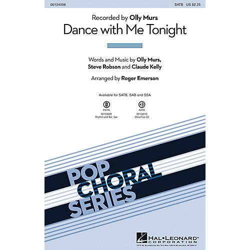 Hal Leonard Dance with Me Tonight SAB by Olly Murs Arranged by Roger Emerson