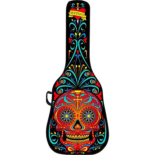 Day of the Dead Acoustic Guitar Case With Graphic Face Panel