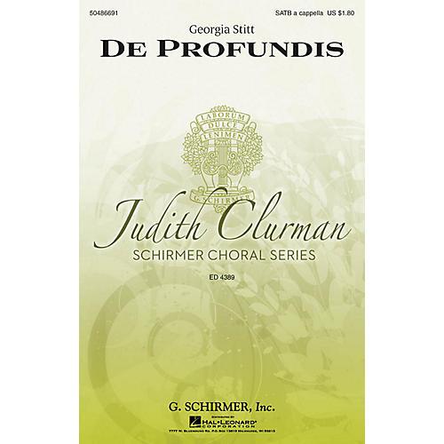 G. Schirmer De Profundis (Judith Clurman Choral Series) SATB a cappella composed by Georgia Stitt