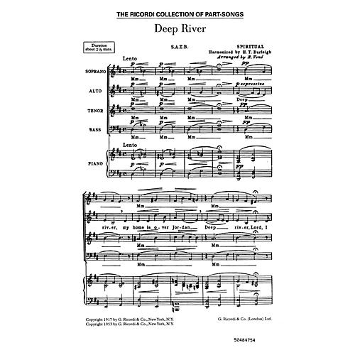 Ricordi Deep River (SATB) SATB Composed by Harry T Burleigh