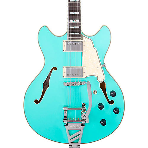 D'Angelico Deluxe DC Semi-Hollow Electric Guitar with D'Angelico Shield Tremolo Matte Surf Green