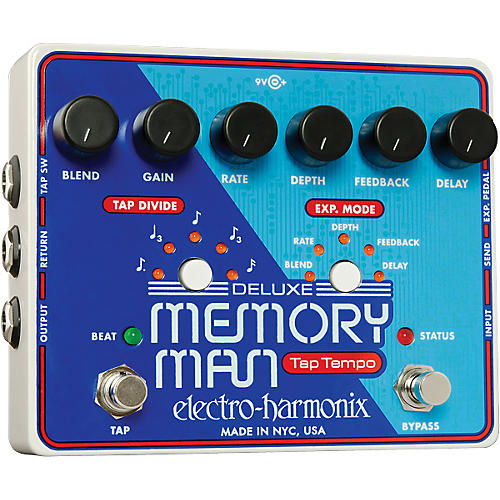 Electro-Harmonix Deluxe Memory Man with Tap Tempo Delay Guitar Effects Pedal