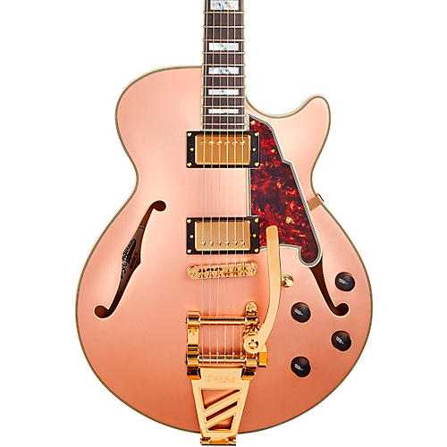 D'Angelico Deluxe SS Semi-Hollow Electric Guitar with D'Angelico Shield Tremolo Matte Rose Gold