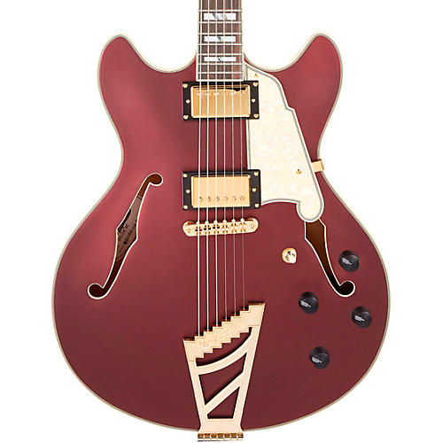 D'Angelico Deluxe Series DC Semi-Hollow Electric Guitar with USA Seymour Duncan Humbuckers and Stairstep Tailpiece Matte Wine