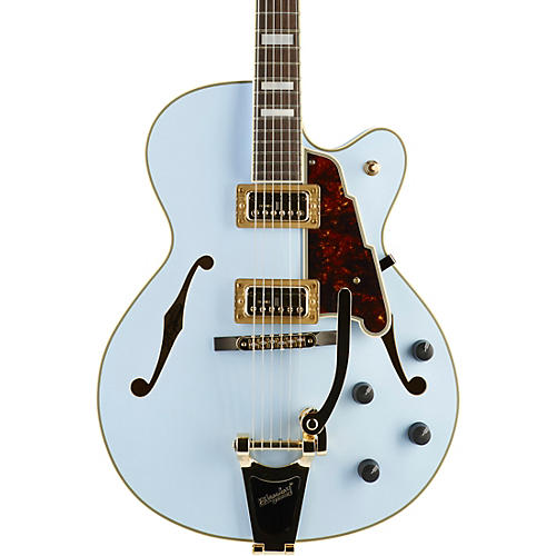 D'Angelico Deluxe Series Limited Edition 175 Hollowbody Electric Guitar with TV Jones Pickups and Bigsby B-30 Matte Powder Blue Tortoise Pickguard