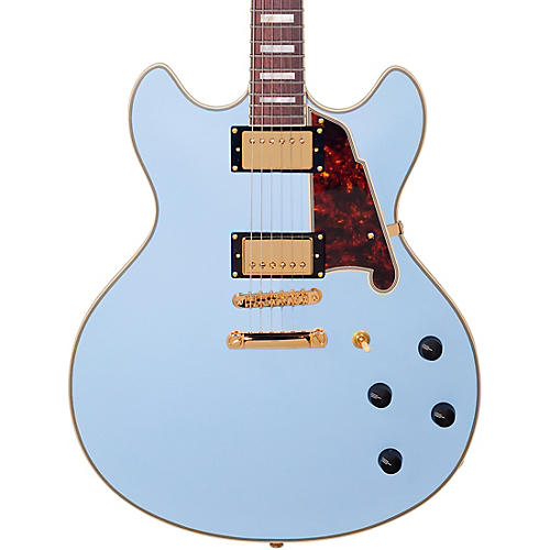 D'Angelico Deluxe Series Limited Edition DC Non F-Hole Semi-Hollowbody Electric Guitar Matte Powder Blue Tortoise Pickguard