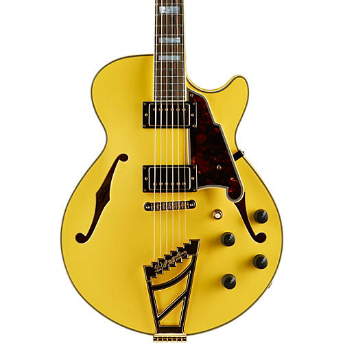 D'Angelico Deluxe Series Limited Edition SS Semi-Hollow Electric Guitar with Custom Seymour Duncan Pickups and Stairstep Tailpiece Electric Yellow Tortoise Pickguard