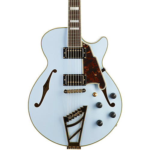 D'Angelico Deluxe Series Limited Edition SS Semi-Hollow Electric Guitar with Custom Seymour Duncan Pickups and Stairstep Tailpiece Matte Powder Blue Tortoise Pickguard