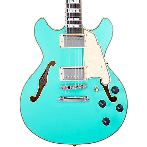 D'Angelico Deluxe Series Mini DC With USA Seymour Duncan Humbuckers Limited-Edition Semi-Hollow Electric Guitar Matte Surf Green
