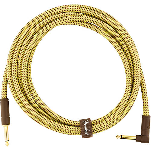 Fender Deluxe Series Straight to Angle Instrument Cable 10 ft. Yellow Tweed