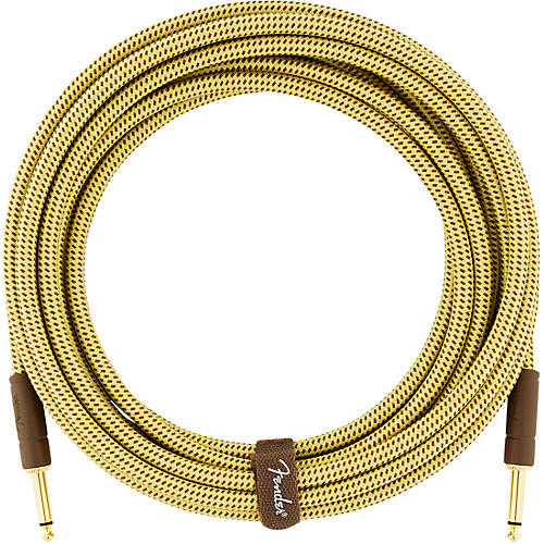 Fender Deluxe Series Straight to Straight Instrument Cable 10 ft. Yellow Tweed