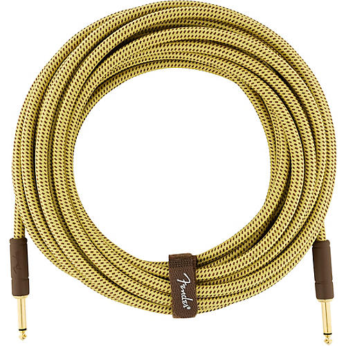 Fender Deluxe Series Straight to Straight Instrument Cable 25 ft. Yellow Tweed