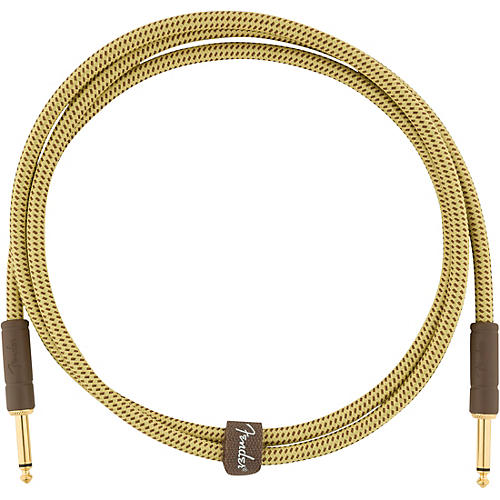 Fender Deluxe Series Straight to Straight Instrument Cable 5 ft. Yellow Tweed