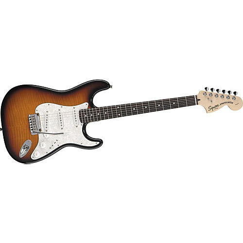 squier deluxe stratocaster electric guitar with flame maple top musician 39 s friend. Black Bedroom Furniture Sets. Home Design Ideas