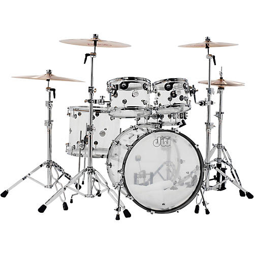 DW Design Series Acrylic 5-Piece Shell Pack with Chrome Hardware Condition 1 - Mint Clear