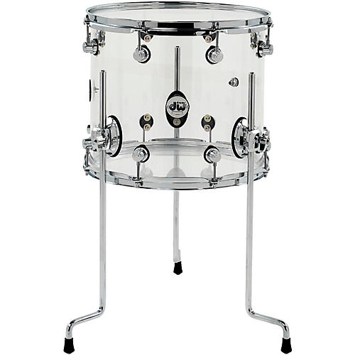DW Design Series Acrylic Floor Tom with Chrome Hardware Condition 1 - Mint 14 x 12 in. Clear